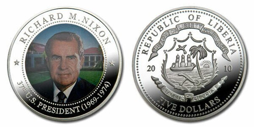 Liberia 2010 Presidential Series - 037th President Richard Nixon dollar5 Dollar Coin Layered with .999 Silver