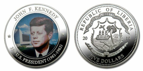 Liberia 2010 Presidential Series - 035 th President John F Kennedy dollar5 Dollar Coin Layered with .999 Silver