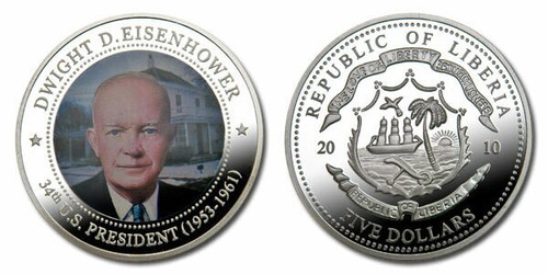 Liberia 2010 Presidential Series - 034th President Dwight Eisenhower Five Dollar dollar5 Coin Layered with .999 Silver