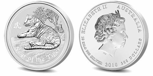 Australia 2010 Year of the Tiger 10 Kilo Silver Coin