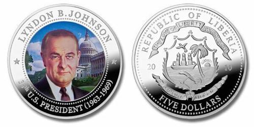 Liberia 2010 Presidential Series - 036th President Lyndon B Johnson Five Dollar dollar5 Coin Layered with .999 Silver