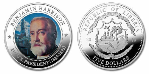 Liberia 2010 Presidential Series - 023rd President Benjamin Harrison Five Dollar dollar5 Coin Layered with .999 Silver