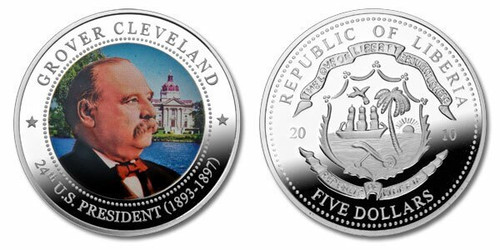 Liberia 2010 Presidential Series - 024th President Grover Cleveland Five Dollar dollar5 Coin Layered with .999 Silver