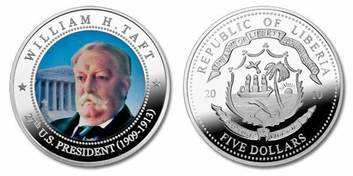 Liberia 2010 Presidential Series - 027th President William Howard Taft Five Dollar dollar5 Coin Layered with .999 Silver