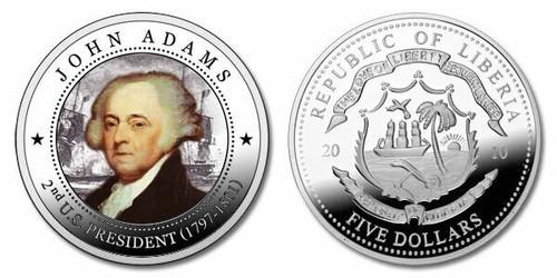 Liberia 2010 Presidential Series - 002nd President John Adams dollar5 Dollar Coin Layered with .999 Silver