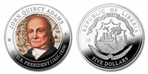 Liberia 2010 Presidential Series - 006th President John Quincy Adams dollar5 Dollar Coin Layered with .999 Silver