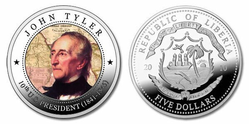 Liberia 2010 Presidential Series - 010th President John Tyler dollar5 Dollar Coin Layered with .999 Silver