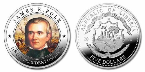 Liberia 2010 Presidential Series - 011th President James K Polk dollar5 Dollar Coin Layered with .999 Silver