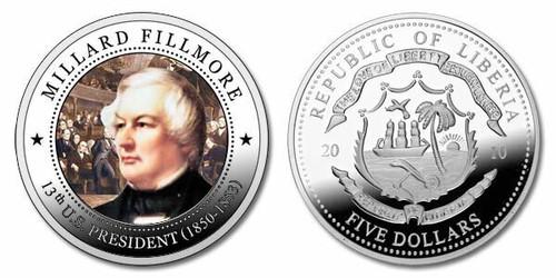 Liberia 2010 Presidential Series - 013th President Millard Fillmore dollar5 Dollar Coin Layered with .999 Silver