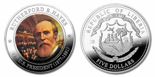 Liberia 2010 Presidential Series - 019th President Rutherford B Hayes dollar5 Dollar Coin Layered with .999 Silver