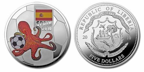 Liberia 2010 Octopus Soccer Coin