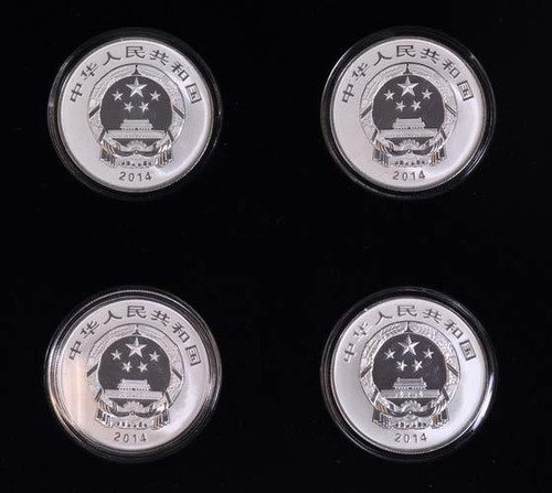 China 2014 West Lake Cultural Landscape of Hangzhou 1/2 oz Silver Proof 4-Coin Set - World Heritage Series