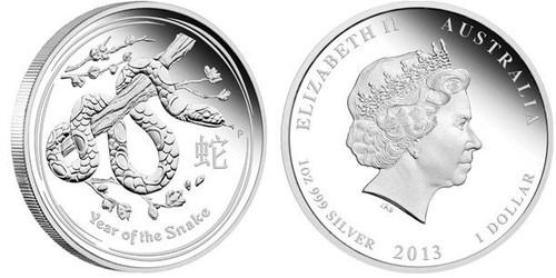 Australia 2013 Year of the Snake 1 oz Silver BU Coin - Series II