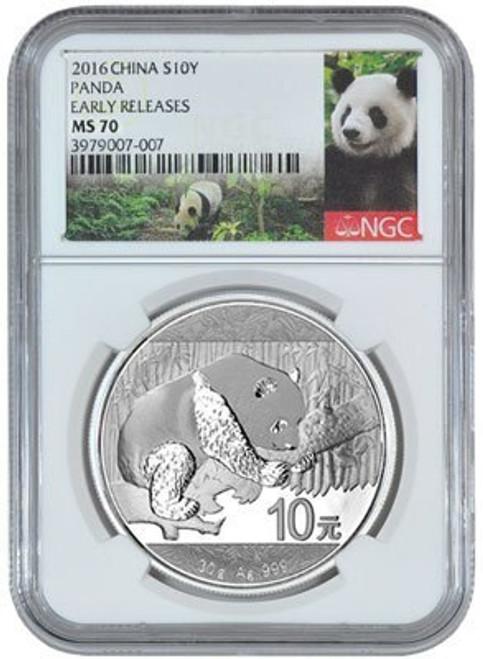 China 2016 Panda 30 grams Silver BU Coin - NGC MS-70 Early Release - Panda Label