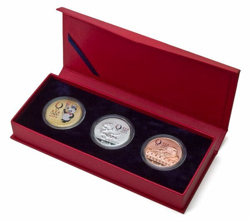 USA 2008 Beijing Olympic Games Panda Sam, Dragon and Great Wall Plated Medal 3-pc Set with USOC Logo