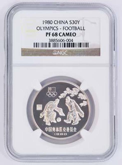 China 1980 Olympics Football Silver Coin NGC PF-68 Ultra Cameo