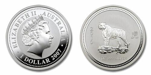 Australia 2010 Year of the Tiger 1 oz Silver BU Coin - Series I