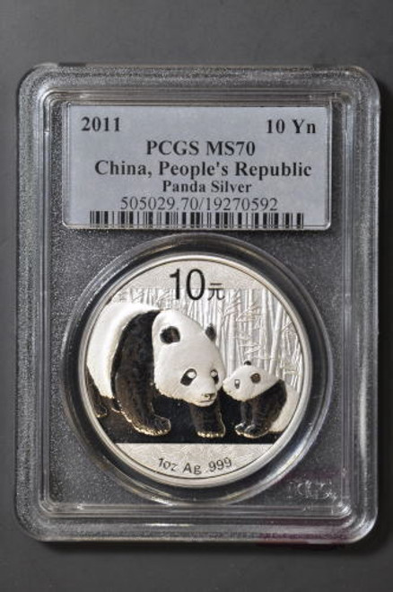 China 2011 Panda 1 oz Silver Coin - PCGS MS-70
