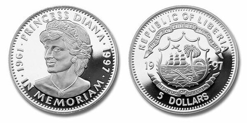Liberia 1997 Princess Diana dollar5 Silver Proof Coin