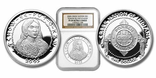 Poarch Creek Indians 2005 Tchow-ee-pu-o-kaw 1 oz Silver Dollar Proof Coin NGC PF-69 Ultra Cameo