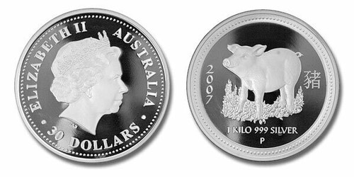 Australia 2007 Year of the Pig 1 Kilo Silver Proof Coin Limited Edition of only 100 pieces