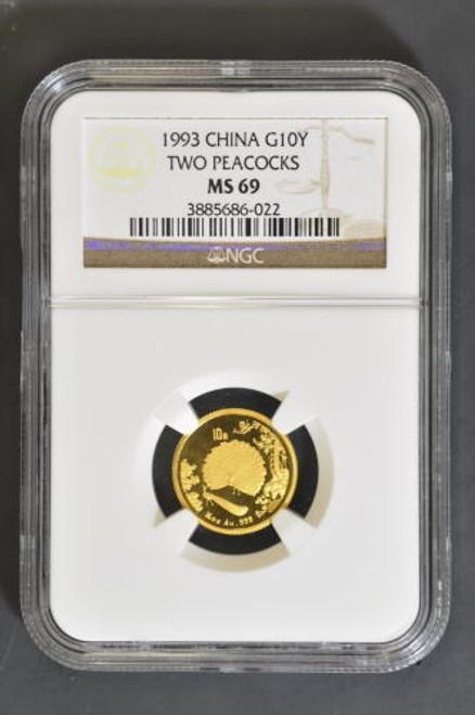 China 1993 Peacock 1/10 oz Gold Coin NGC MS-69