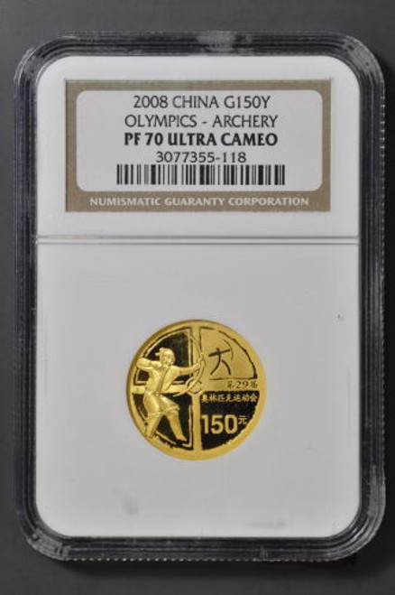 China 2008 Beijing Olympic Games 1/3 oz Gold Coin - Series I - Archery NGC PF-70 Ultra Cameo