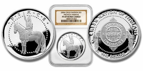 Poarch Creek Indians 2004 Peace 1 oz Silver Dollar Proof Coin NGC PF-69 Ultra Cameo