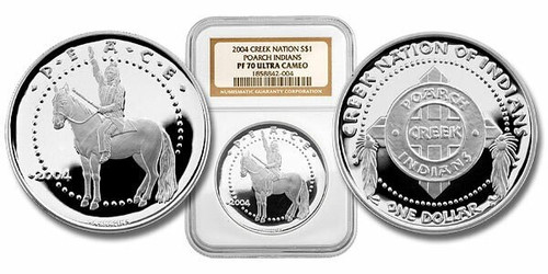 Poarch Creek Indians 2004 Peace 1 oz Silver Dollar Proof Coin NGC PF-70 Ultra Cameo