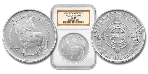 Poarch Creek Indians 2004 Peace 1 oz Silver Dollar NGC MS-69