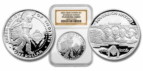 Poarch Creek Indians 2004 Pow-Wow 1 oz Silver Dollar Proof Coin NGC PF-69 Ultra Cameo