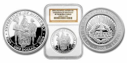 Shawnee Nation 2004 President Jefferson and Indian Chief 1 oz Silver Dollar NGC PF-70 Ultra Cameo