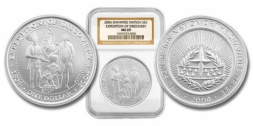 Shawnee Nation 2004 President Jefferson and Indian Chief Silver Dollar NGC MS-69