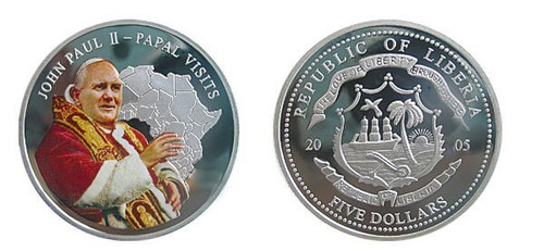 Liberia 2005 Pope John Paul II dollar5 Silver Clad Proof Coloried Coin