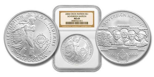 Poarch Creek Indians 2004 Pow Wow 1 oz Silver Dollar BU Coin NGC MS-69