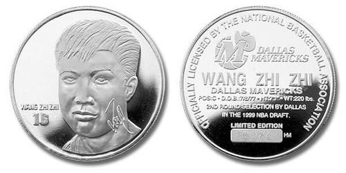 Wang Zhi Zhi of the NBA Basketball Dallas Mavericks 1 oz Pure Silver Medal
