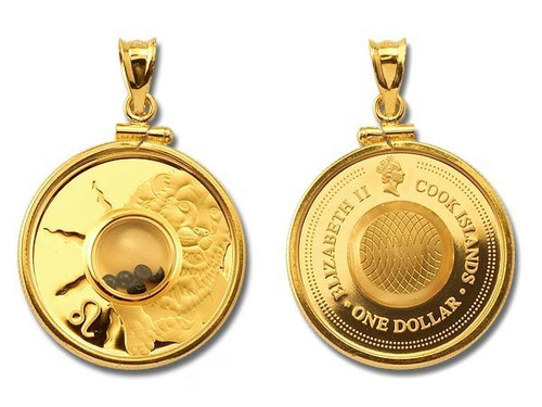 Cook Islands - Leo Gemstone Zodiac Gold-Plated Silver Proof Coin in Matching Bezel