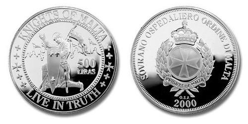 Knights of Malta 2000 Live In Truth 500 Lira Silver Proof Coin