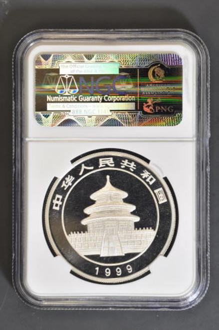 China 1999 Panda 1 oz Silver Coin - Large Date Serif 1 - NGC MS-69