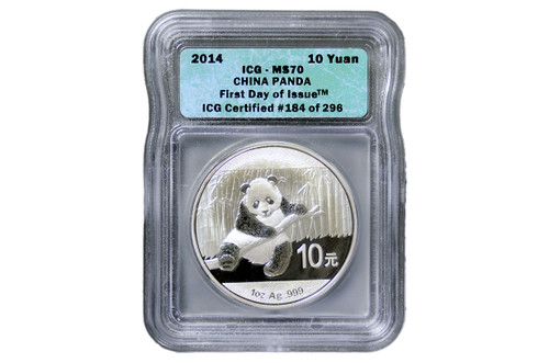 China 2014 Panda 1 oz Silver Coin - ICG MS-70 First Day Issue