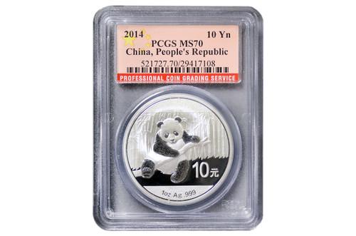 China 2014 Panda 1 oz Silver Coin - PCGS MS-70 China Flag Label
