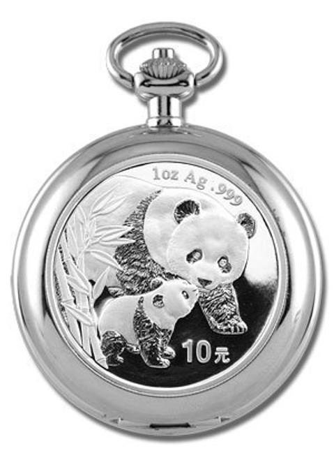 Classic 1930s-Design Pocket Watch with 1 oz Silver Panda Coin Insert date of our choice