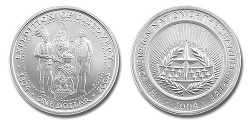 Shawnee Nation 2004 Expedition of Discovery President Jefferson and Indian Chief 1 oz Silver Dollar BU Coin