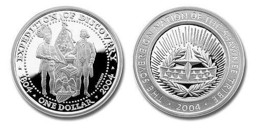 Shawnee Nation 2004 Expedition of Discovery President Jefferson and Indian Chief 1 oz Silver Dollar Proof Coin