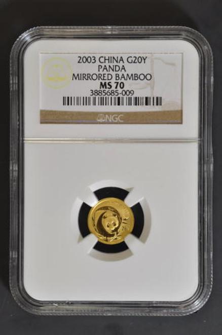 China 2003 Panda 1/20 oz Gold Coin Mirrored Bamboo NGC MS70