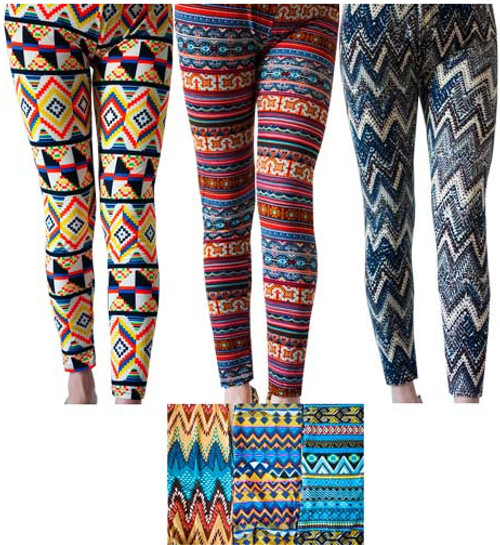 Thin Abstract Chevron Pattern Leggings Case Pack 12