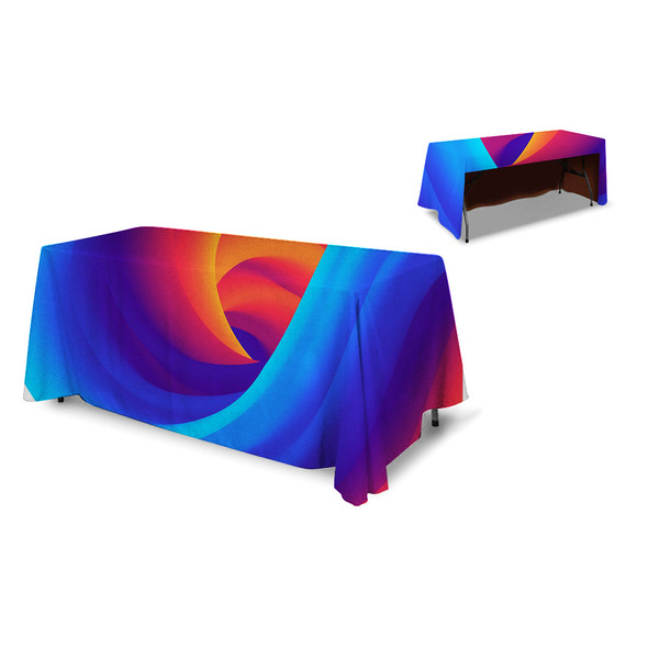 Premium Table Throw 6ft 3-Sided (Open Back) (Full-Color Dye Sublimation, Full Bleed)