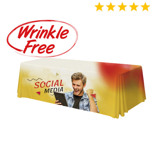 Premium Table Throw 8ft 4-Sided (Close Back) Wrinkle-Free (Full-Color Dye Sublimation, Full Bleed)
