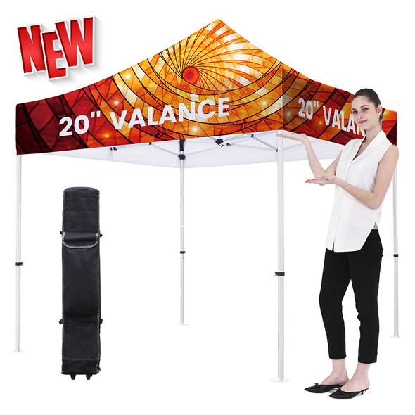 "Premium Aluminum 10' Tent Kit (Full-Bleed Dye Sublimation) 20"" Valance"