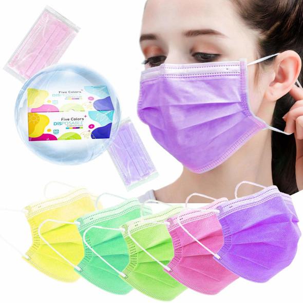 Multicolor Face Mask (5 Color One Box)